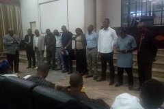 ENGR AKINTEYE BLESSING THE BRANCH EXCO DURING ONE OF ITS OGM