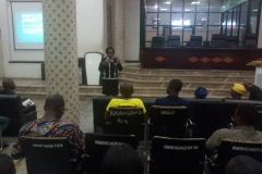 ENGR VALERIE PRESENTING DURING ONE OF THE BRANCH OGM